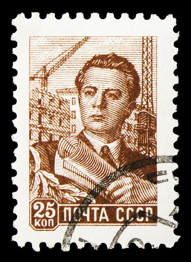 Postage stamp printed in Soviet Union (Russia) shows Architect, Definitive Issue No.9 serie, circa 1960. MOSCOW, RUSSIA - SEPTEMBER 30, 2019: Postage stamp stock photos