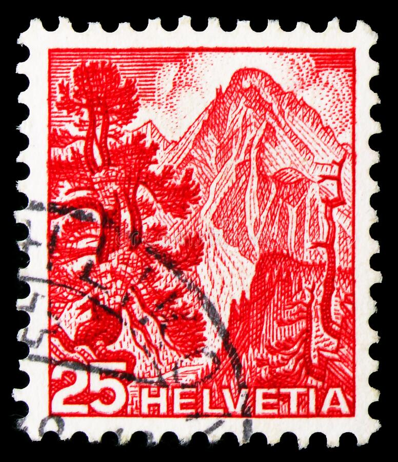 Postage stamp printed in Switzerland shows Grisons National Park, Landscapes serie, circa 1948 royalty free stock image
