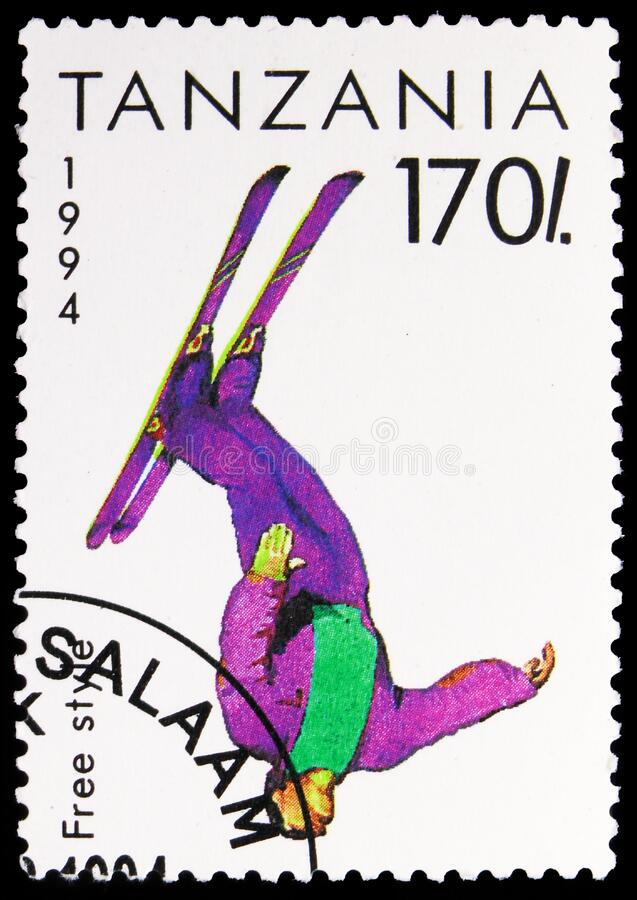 Postage stamp printed in Tanzania shows Free Style, Winter Olympic Games 1994 - Lillehammer serie, circa 1994. MOSCOW, RUSSIA - NOVEMBER 6, 2019: Postage stamp stock photos