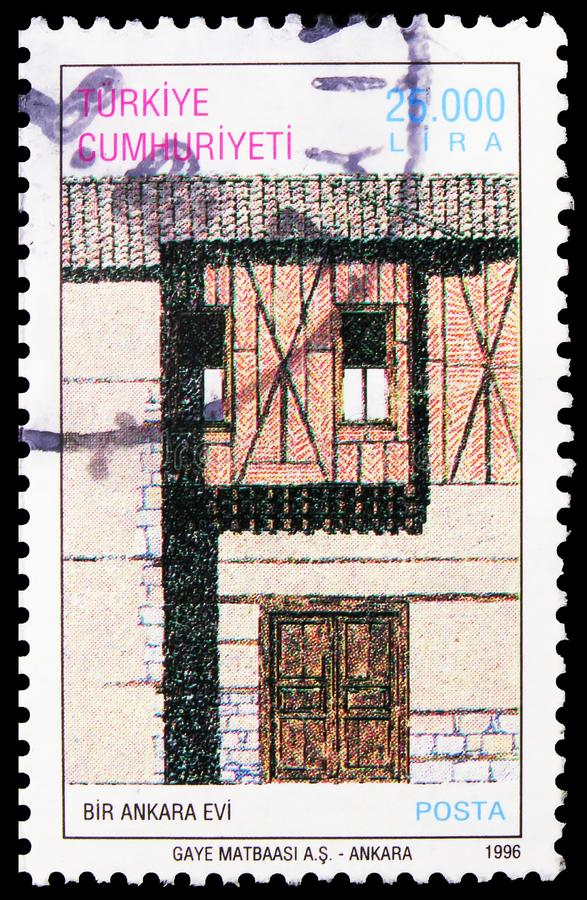 Postage stamp printed in Turkey shows House in Ankara, Traditional Turkish Houses, 1996 serie, circa 1996 royalty free stock photography