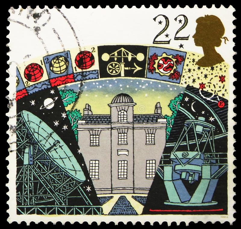 Postage stamp printed in United Kingdom shows Armagh Observatory, Astronomic society serie, circa 1990. MOSCOW, RUSSIA - SEPTEMBER 30, 2019: Postage stamp royalty free stock image