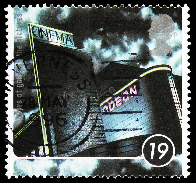 Postage stamp printed in United Kingdom shows The Odeon, Harrogate, Centenary of the Cinema serie, 19 p - British penny, circa. MOSCOW, RUSSIA - NOVEMBER 10 royalty free stock photo