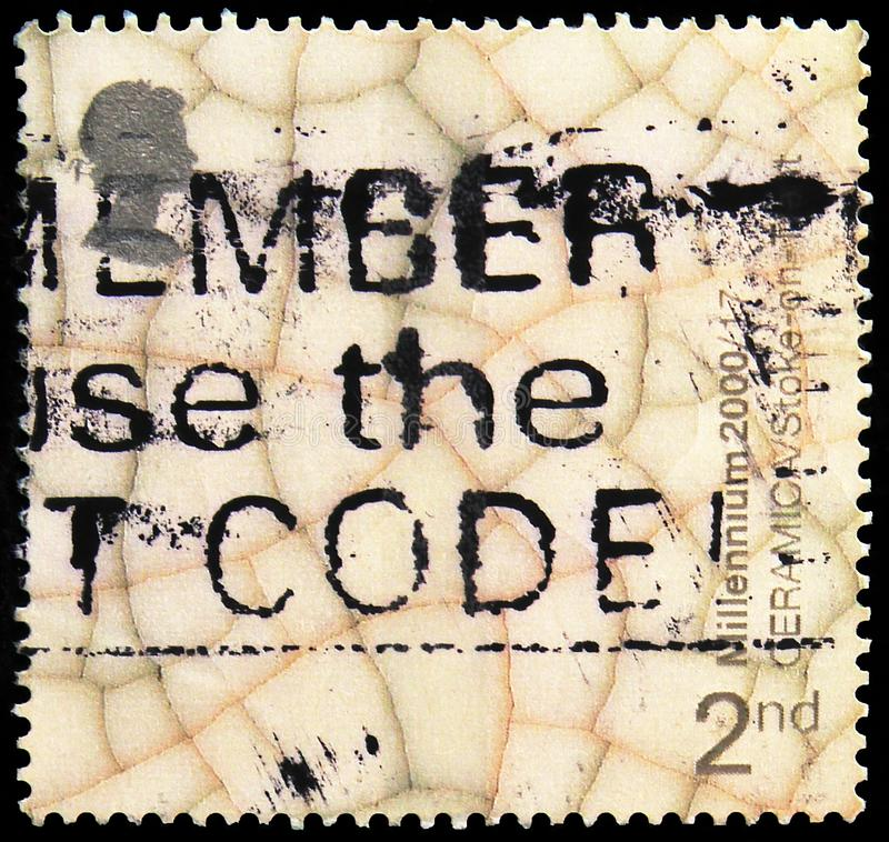 Postage stamp printed in United Kingdom shows Pottery Glaze (Ceramica Museum, Stoke-on-Trent), Millennium Projects 5 - \'Art and. MOSCOW, RUSSIA - SEPTEMBER 30 stock photo