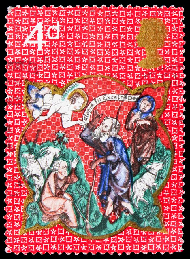 Postage stamp printed in United Kingdom shows Shepherds and Apparition of Angel, Christmas 1970 - Robert De Lisle Psalter serie, 4. MOSCOW, RUSSIA - OCTOBER 4 royalty free stock photos