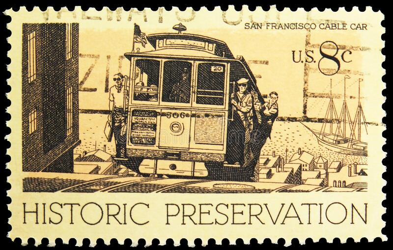 Postage stamp printed in United States shows Cable Car, San Francisco, CA, Historic Preservation Issue serie, circa 1971. MOSCOW, RUSSIA - NOVEMBER 6, 2019 royalty free stock photo