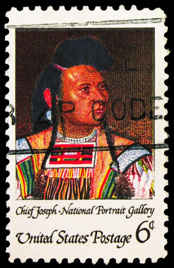 Postage stamp printed in United States shows Chief Joseph by Cyrenius Hall, American Indian Issue serie, circa 1968. MOSCOW, RUSSIA - SEPTEMBER 27, 2019: Postage royalty free stock photos
