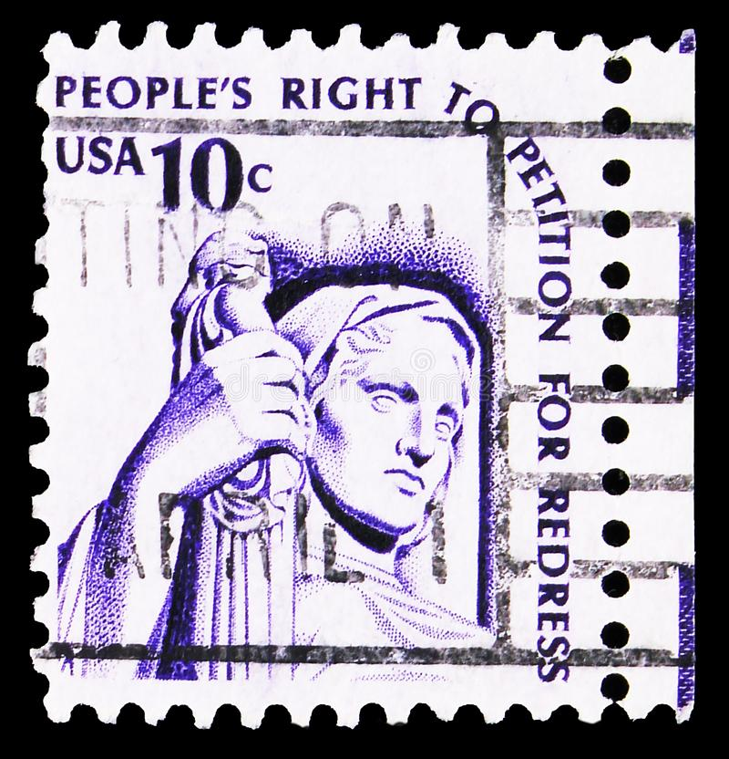 Postage stamp printed in United States shows Contemplation of Justice by J.E. Fraser, Americana Issue serie, circa 1977. MOSCOW, RUSSIA - SEPTEMBER 23, 2019 stock image