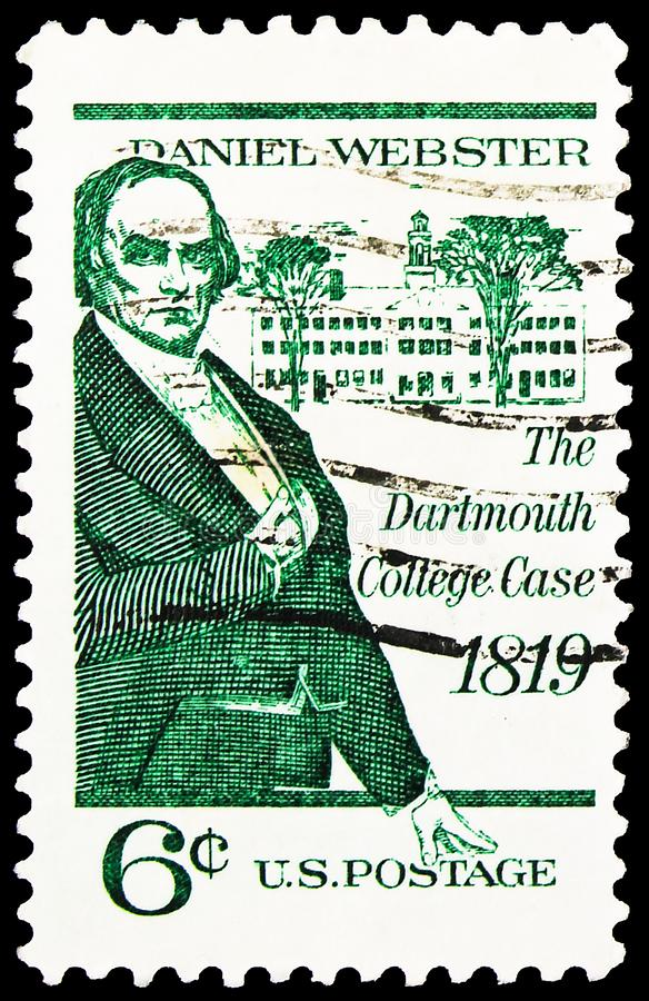Postage stamp printed in United States shows Daniel Webster and Dartmouth Hall, Dartmouth College Case Issueserie, circa 1969. MOSCOW, RUSSIA - SEPTEMBER 27 stock images