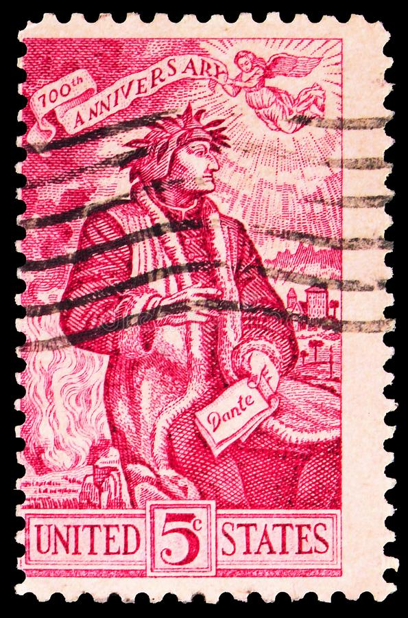 Postage stamp printed in United States shows Dante Alighieri (1265-1321) in a 16th Century Painting, Dante Issue serie, circa 1965. MOSCOW, RUSSIA - SEPTEMBER 27 stock photo