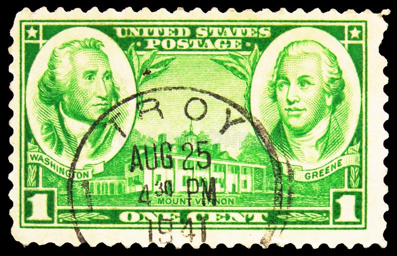 Postage stamp printed in United States shows Generals George Washington, Nathanael Greene and Mt. Vernon, Army Issue serie, circa. MOSCOW, RUSSIA - SEPTEMBER 27 stock photography