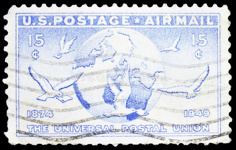 Postage stamp printed in United States shows Globe and Doves Carrying Messages, U.P.U. (Universal Postal Union), 75th Anniversary. MOSCOW, RUSSIA - SEPTEMBER 23 royalty free stock image