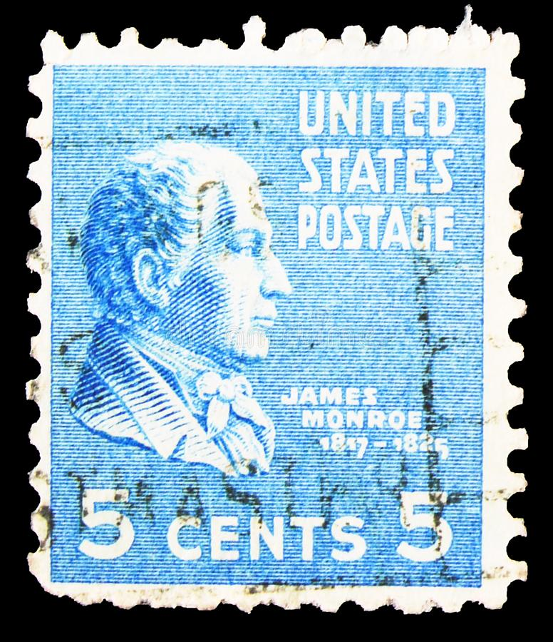 Postage stamp printed in United States shows James Monroe (1758-1831), fifth President of the U.S.A., Presidential Issue serie,. MOSCOW, RUSSIA - SEPTEMBER 30 stock photos