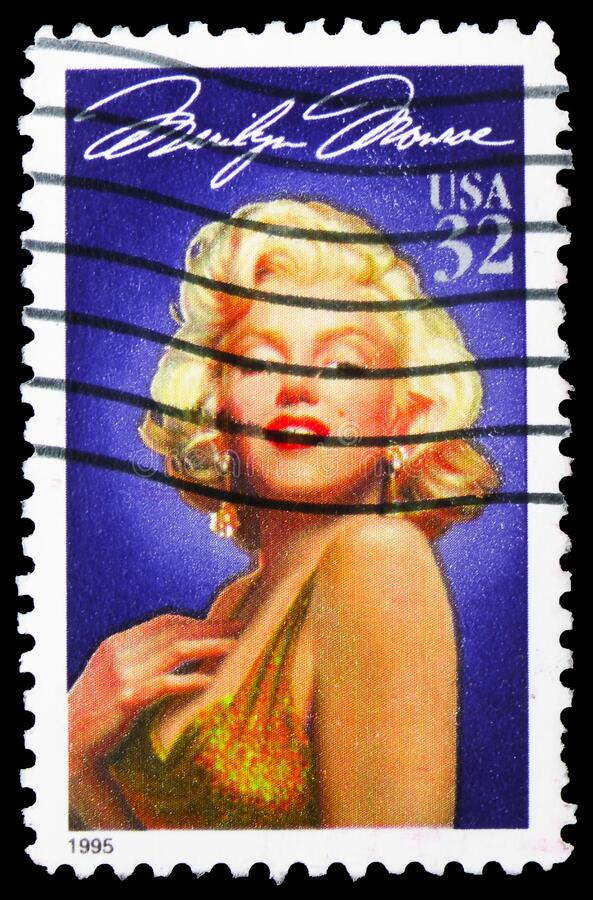 Postage stamp printed in United States shows Marilyn Monroe, Legends of Hollywood serie, circa 1995. MOSCOW, RUSSIA - APRIL 18, 2020: Postage stamp printed in royalty free stock photos