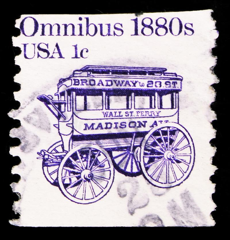 Postage stamp printed in United States shows Omnibus, Transportation Issue serie, circa 1986. MOSCOW, RUSSIA - SEPTEMBER 27, 2019: Postage stamp printed in stock photos