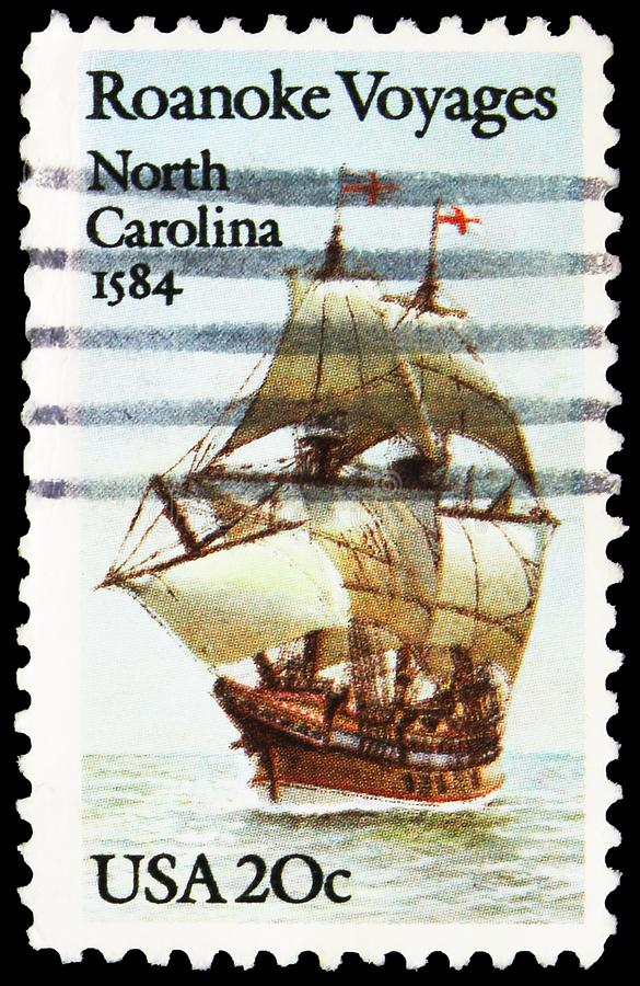 Postage stamp printed in United States shows Roanoke Voyage - The Elizabeth, serie, circa 1984. MOSCOW, RUSSIA - SEPTEMBER 27, 2019: Postage stamp printed in stock photography