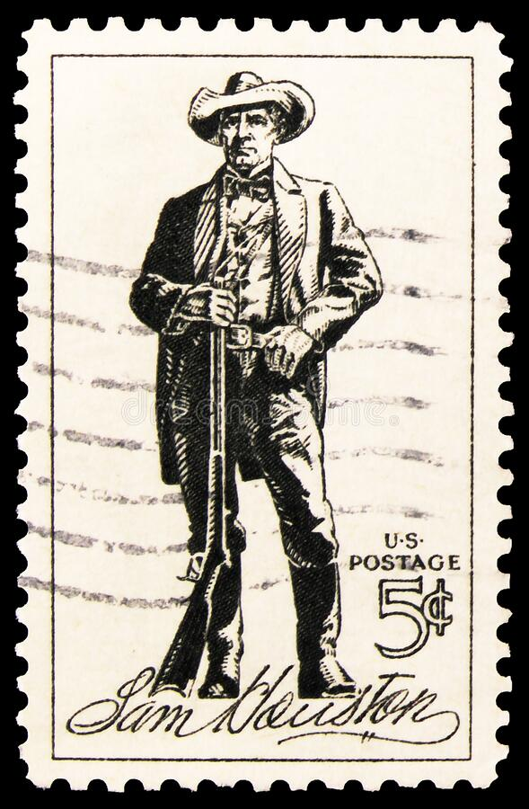 Postage stamp printed in United States shows Sam Houston, serie, circa 1964. MOSCOW, RUSSIA - OCTOBER 8, 2019: Postage stamp printed in United States shows Sam stock photography