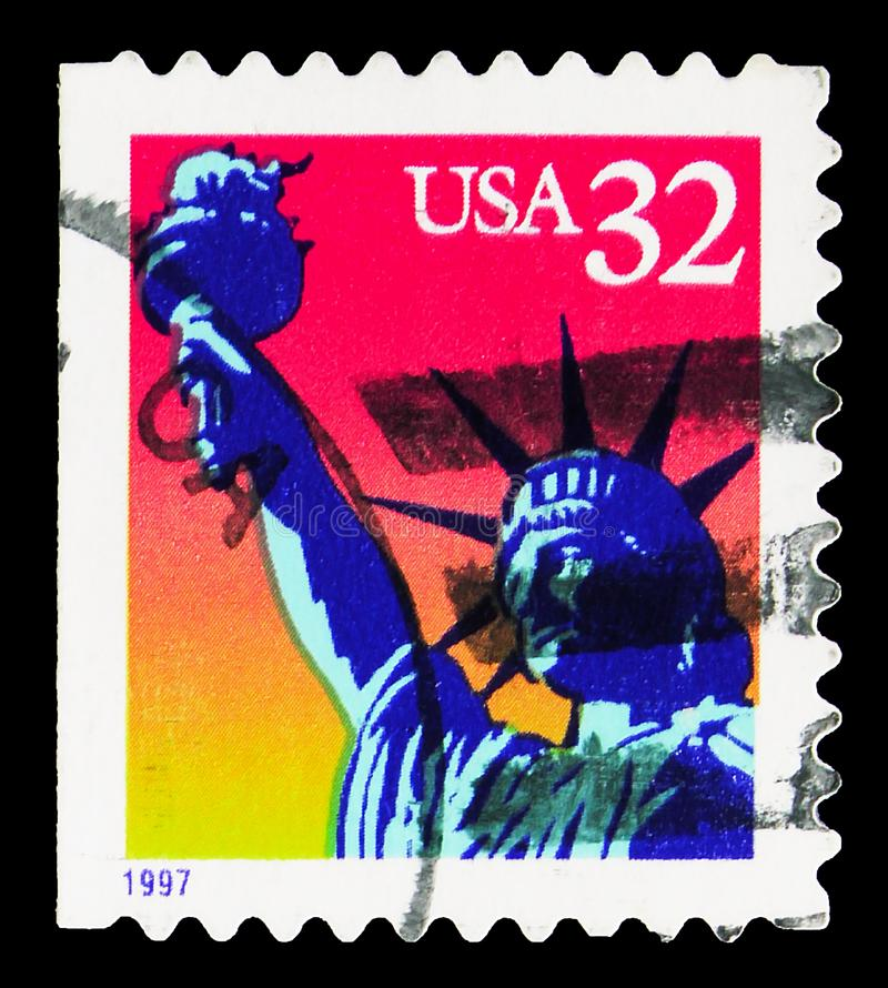 Postage stamp printed in United States shows Statue of Liberty, New York, serie, circa 1997. MOSCOW, RUSSIA - SEPTEMBER 27, 2019: Postage stamp printed in United stock photo