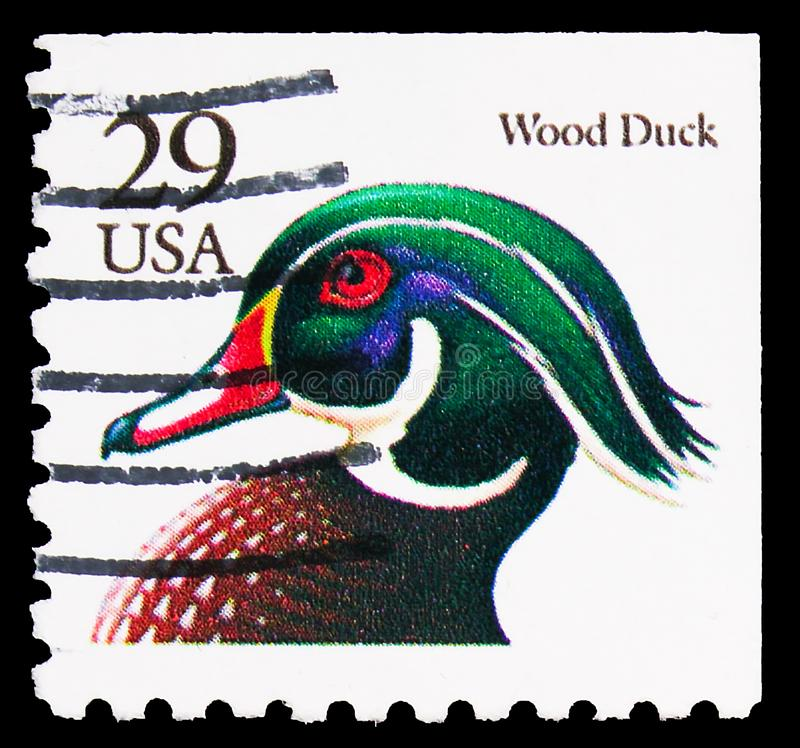 Postage stamp printed in United States shows Wood Duck (Aix sponsa), Flora and Fauna Issue serie, circa 1991. MOSCOW, RUSSIA - SEPTEMBER 27, 2019: Postage stamp royalty free stock photos