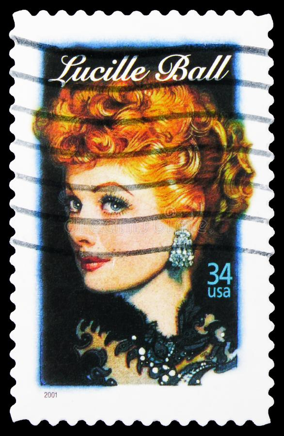 Postage stamp printed in USA shows Lucille Ball, 34 c - United States cent, Legends of Hollywood serie, circa 2001. MOSCOW, RUSSIA - OCTOBER 1, 2019: Postage royalty free stock photos