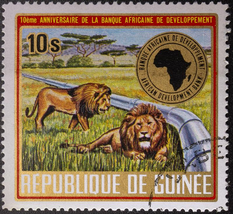Postage Stamp. 1975. Republic of Guinea. Fauna. 10th anniversary of the African Development Bank stock image