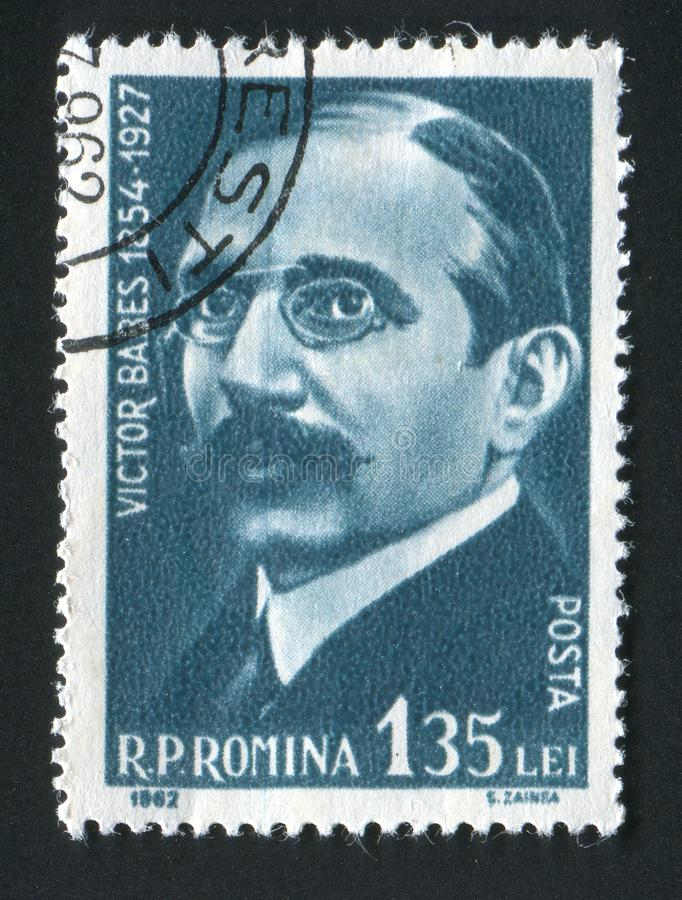 Postage stamp. ROMANIA - CIRCA 1962: Victor Babes was a Romanian physician, biologist, and one of the earliest bacteriologists, circa 1962 royalty free stock photos