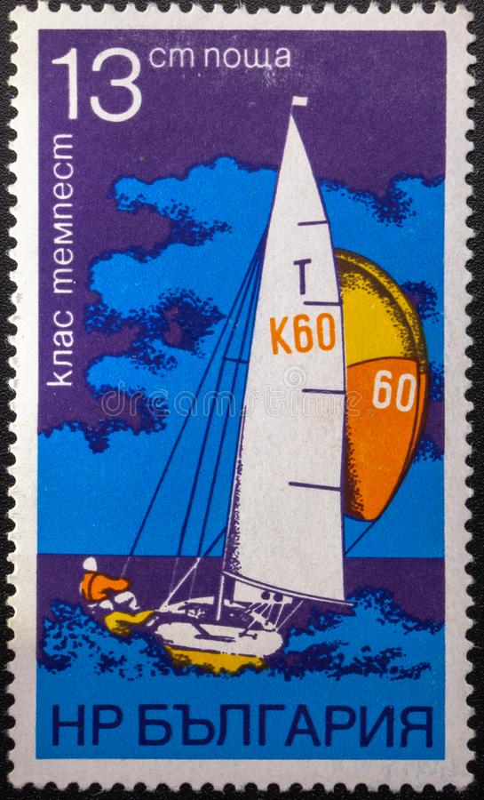 Postage Stamp. 1973. Sailing. Bulgaria stock photo