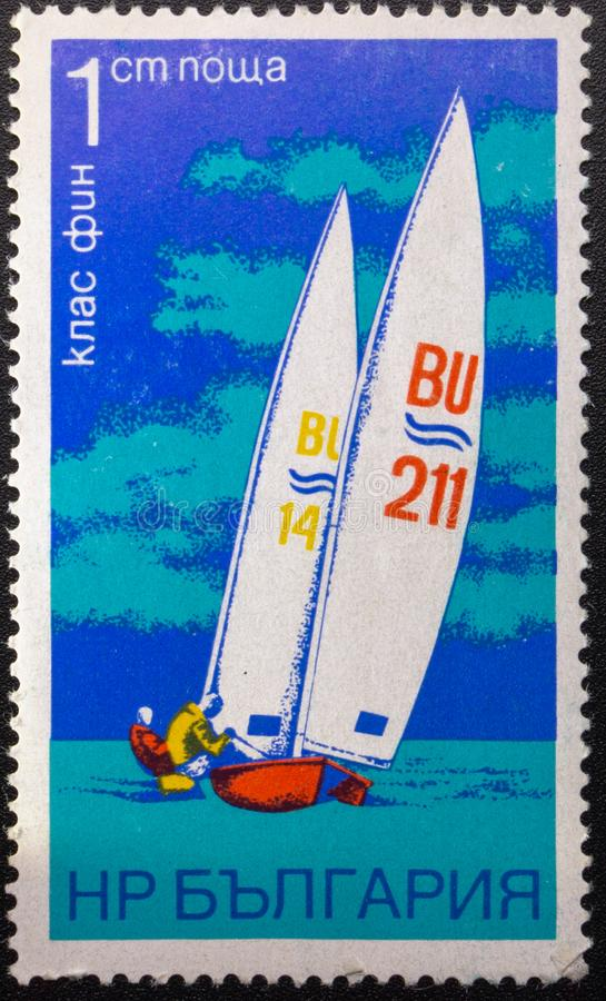 Postage Stamp. 1973. Sailing. Bulgaria royalty free stock photo