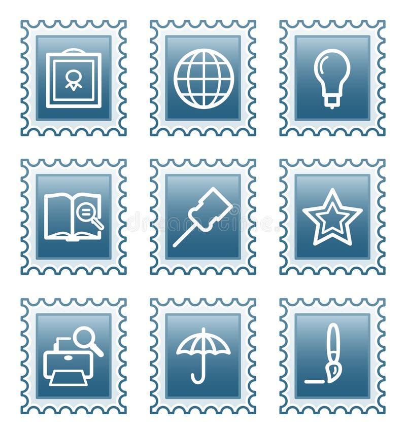 Postage stamp set 9 vector illustration