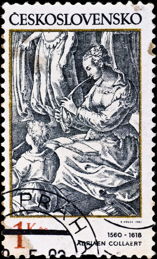 Postage stamp shows engraving of Adriaen Collaert royalty free stock photo