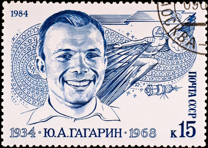 Postage stamp shows Yuri Gagarin stock photos