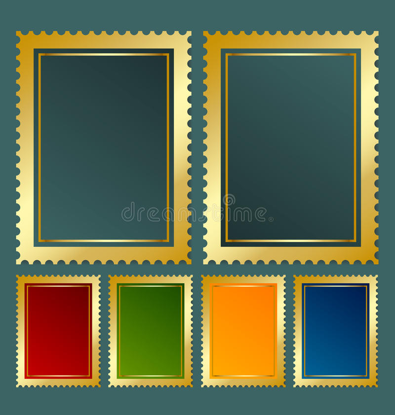 Postage stamp template. In various color variations stock illustration