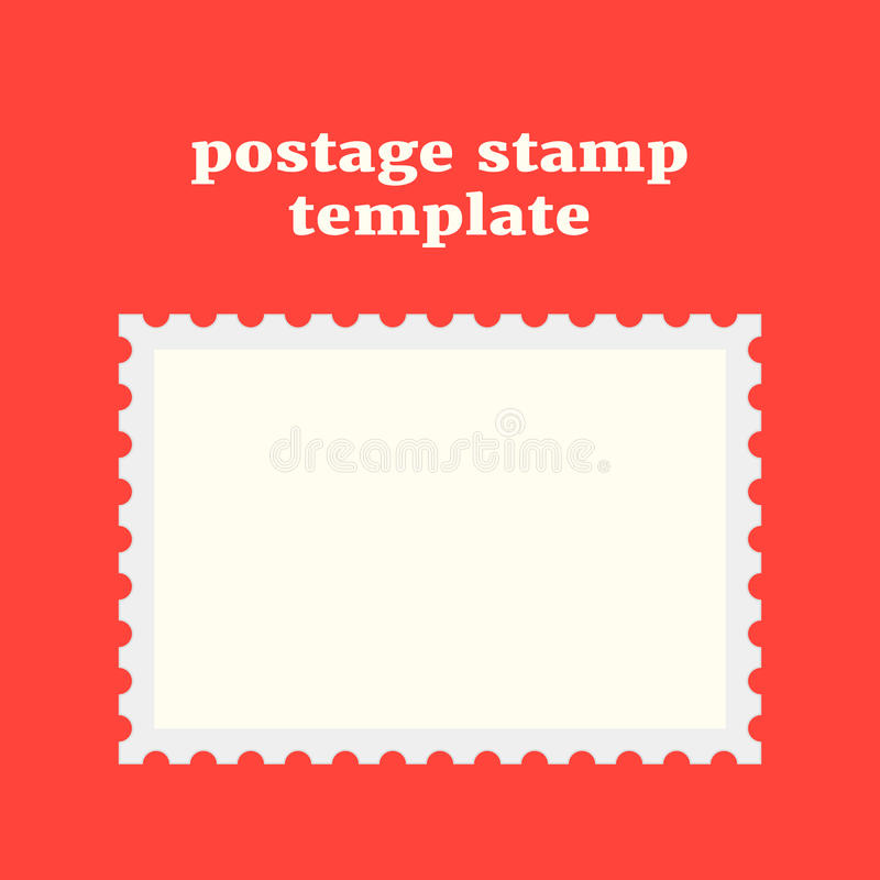 Postage stamp template on red background. Concept of message, indentation, cardboard, stationery, poststamp, backdrop, post-office. flat style trendy modern royalty free illustration