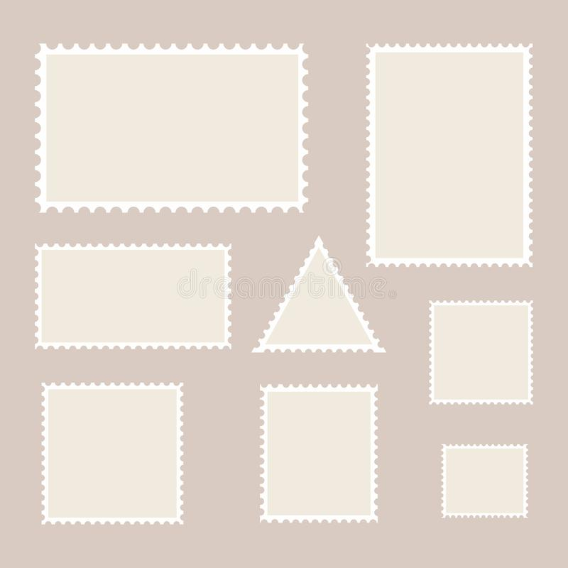 Postage stamp template. Set of blank stamps. stock illustration
