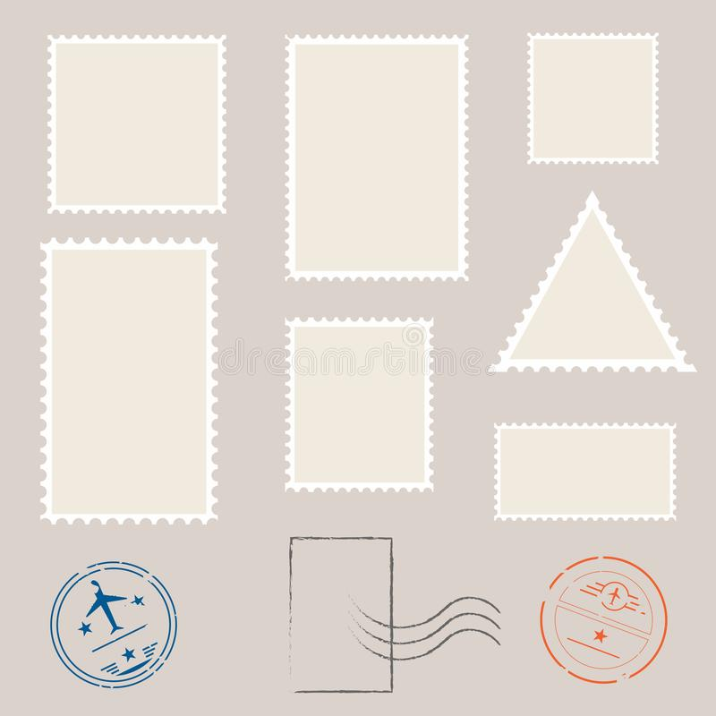 Postage stamp template. Set of blank stamps royalty free illustration