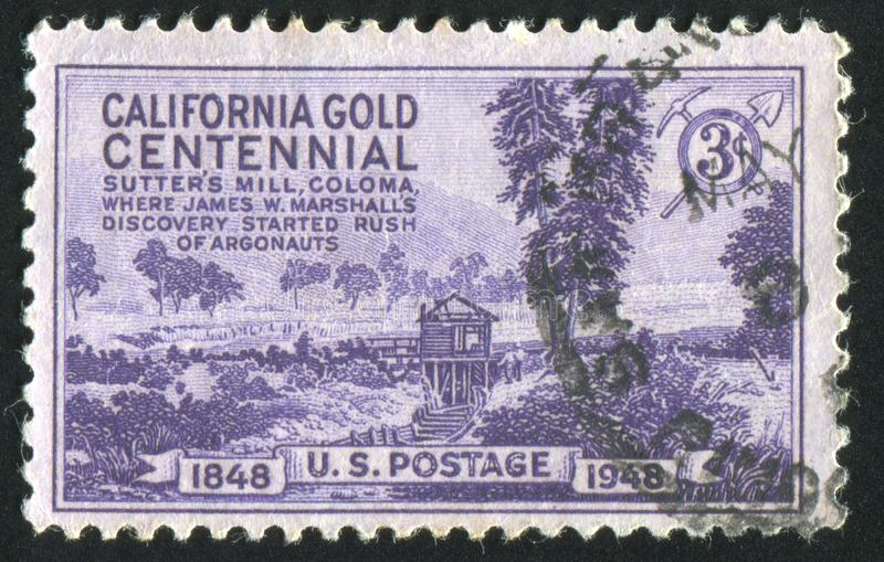 Postage stamp. UNITED STATES - CIRCA 1948: stamp printed by United states, shows Sutter's Mill, Coloma, California, circa 1948 stock image