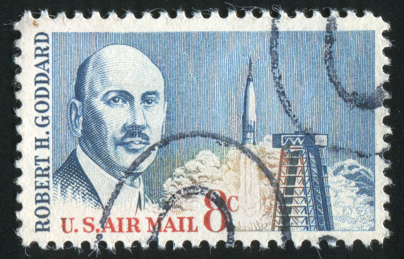 Postage stamp. UNITED STATES - CIRCA 1964: stamp printed by United states, shows Dr. Robert H. Goddard, circa 1964 royalty free stock images