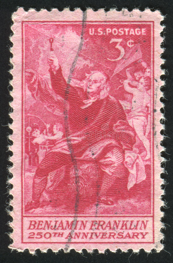 """Postage stamp. UNITED STATES - CIRCA 1955: stamp printed by United states, shows """"Franklin Taking Electricity from the Sky,"""" by Benjamin West, circa stock image"""