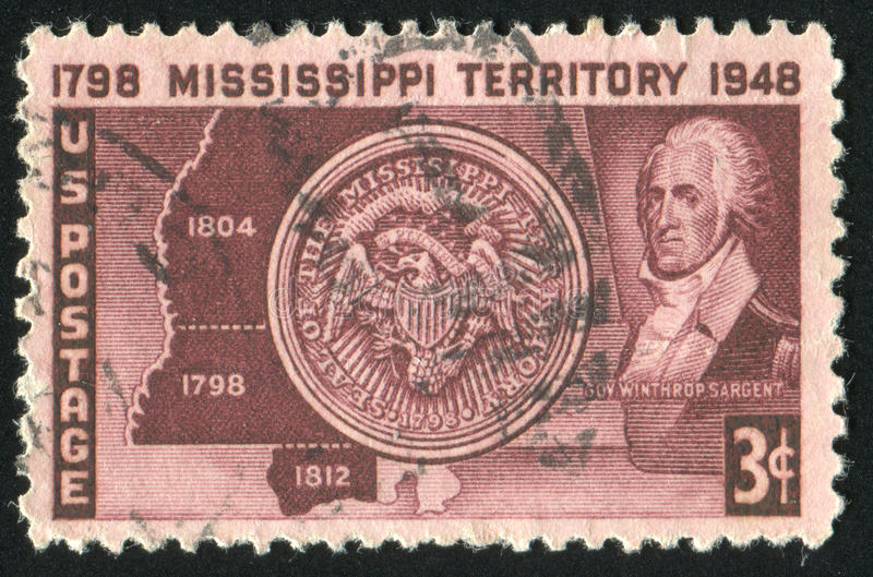 Postage stamp. UNITED STATES - CIRCA 1948: stamp printed by United states, shows Map, Seal and Gov. Winthrop Sargent, circa 1948 stock image