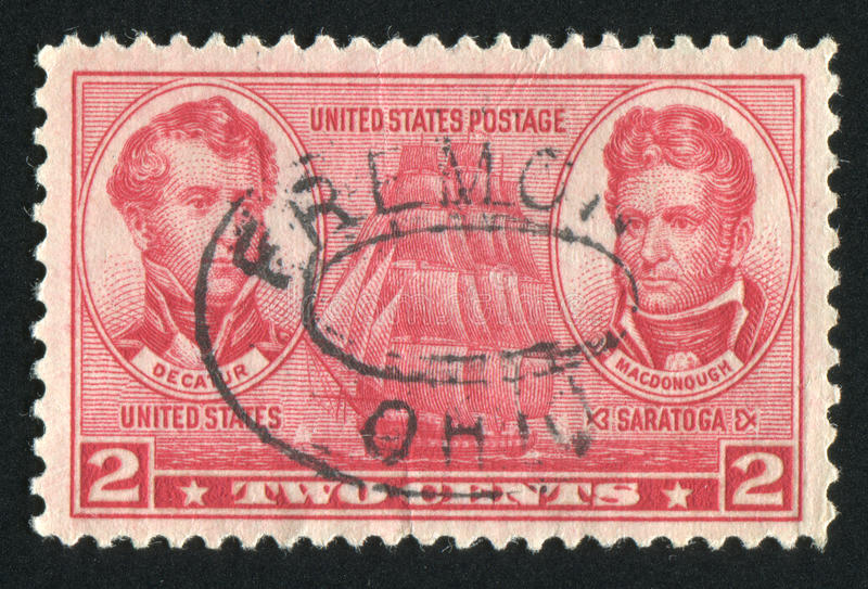Postage stamp. UNITED STATES - CIRCA 1937: stamp printed by United states, shows Stephen Decatur and Thomas MacDonough, circa 1937 royalty free stock photo