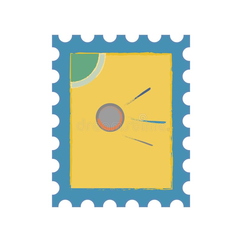 Postage stamp vector eps10. Postage stamp icon sign. postage stamp with the first Earth satellite. stock illustration