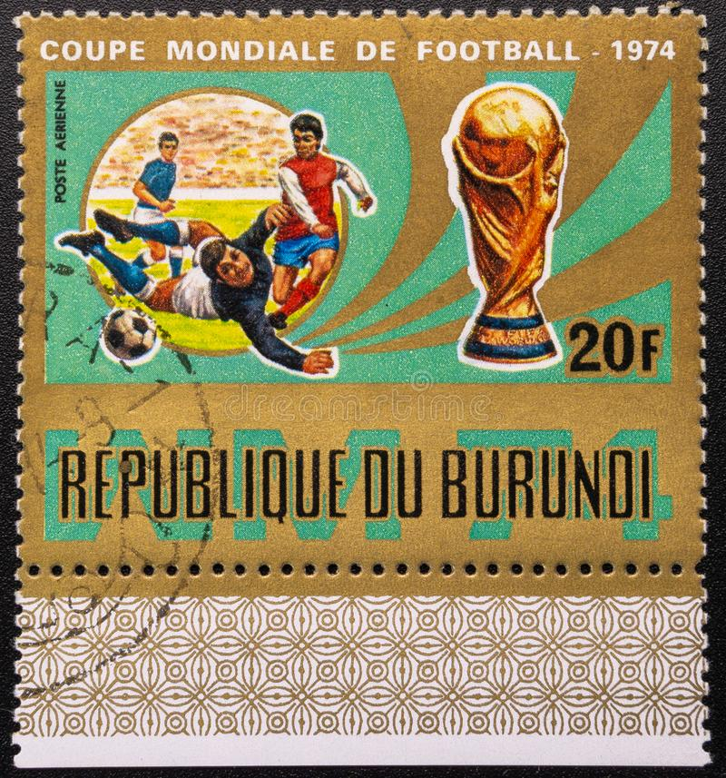 Postage Stamp. 1974. World Cup. Soccer. Republic of Burundi royalty free stock images