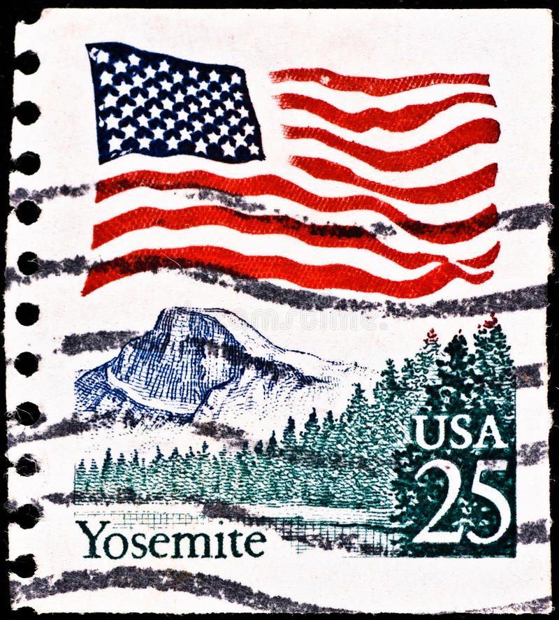 Postage stamp with Yosemite National Park stock photo