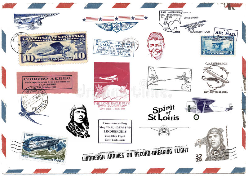 Postage stamps and airmail labels about Charles Lindbergh royalty free illustration
