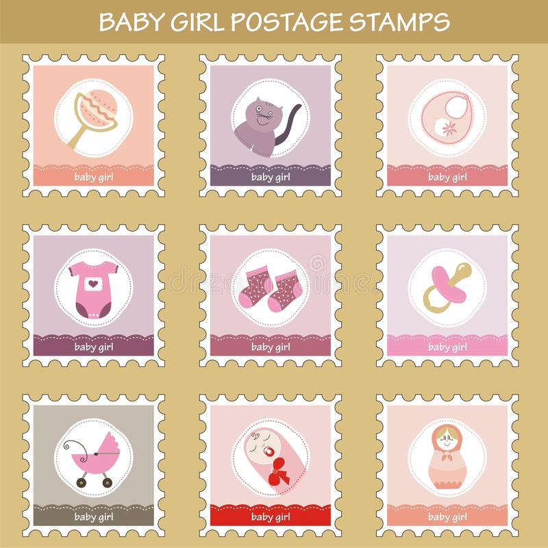 Postage stamps with baby girl objects stock illustration