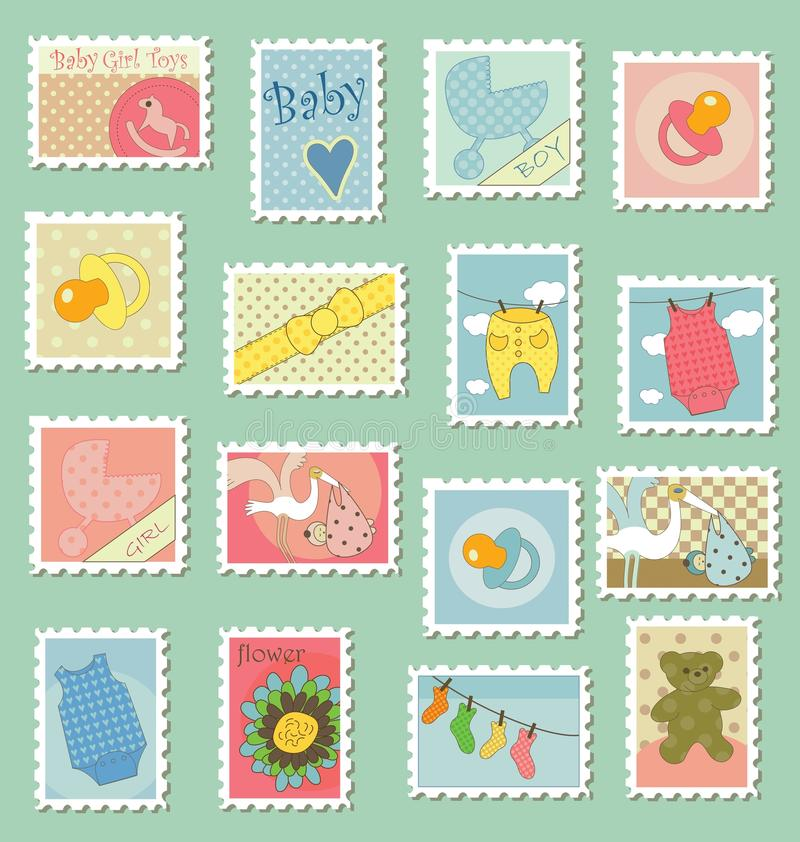 Download Postage Stamps With Baby Theme Stock Vector - Image: 15224439