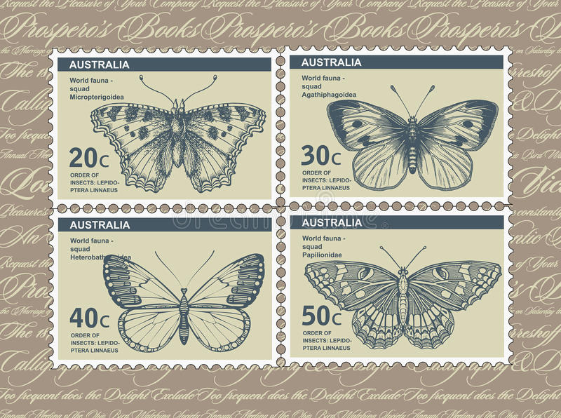 Postage stamps. Butterfly, moth isolated. Insect realistic. Fauna. Postcard. Engraving, drawing nature. Vintage illustration. vector illustration