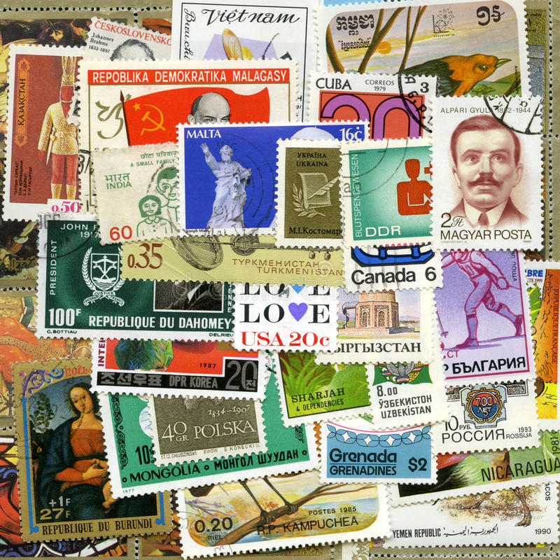 Postage stamps of the different countries royalty free stock photos