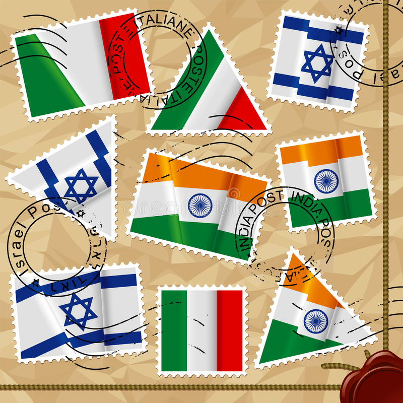 Postage stamps with flags stock illustration