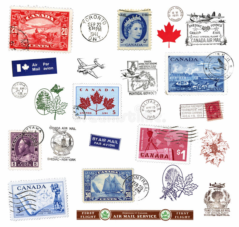 Postage stamps and labels from Canada stock photo