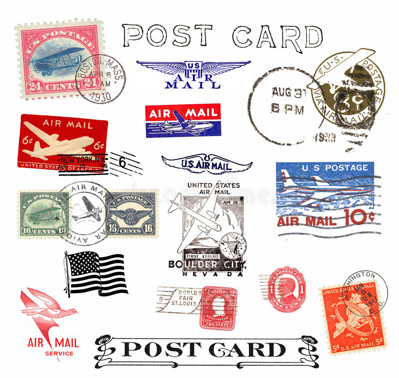 Postage stamps and labels from US stock illustration
